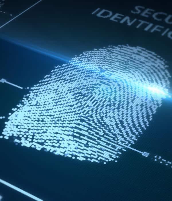 Fingerprint scanned on a blue background